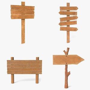 wood sign 3D model