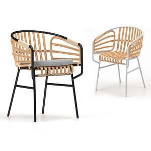 chair rattan raphia 3D model