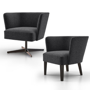 velour lounge armchair 3D model