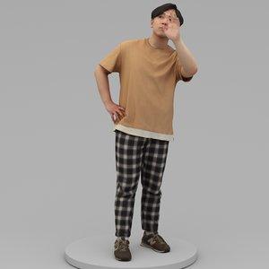 3D relaxed man say hi