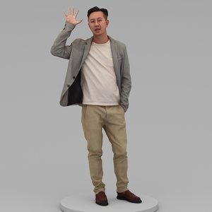3D model middle-aged man say hi