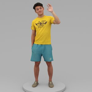 young man say hi 3D