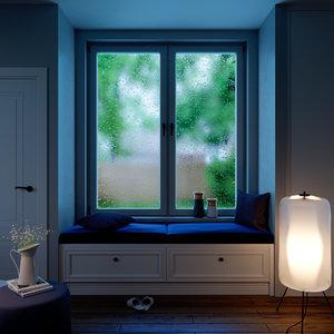 3D modern interior lighting window