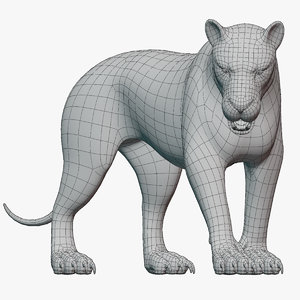 rigged lion base mesh 3D model