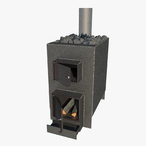 homemade metal sauna stove 3D model