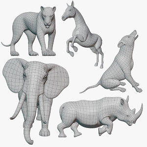 animal base meshes rigged 3D