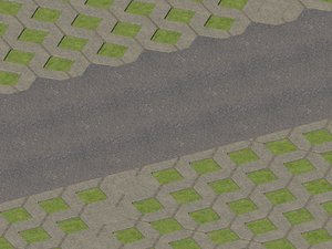 3D outdoor sidewalk paving stone