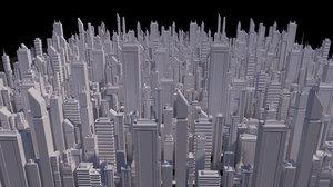 20 buildings skyscrapers 3D model