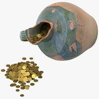 Broken Clay Pot With Treasure