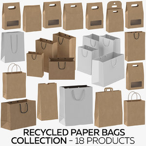 3D recycled paper bags - model