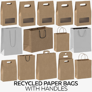 3D recycled paper bags handles