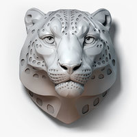 Snow Leopard Head Sculpture Spotted