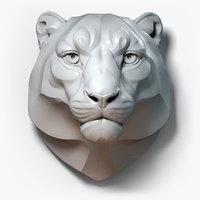 Snow Leopard Head Sculpture Stylized