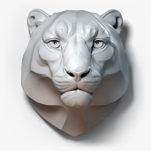 3D model snow leopard stylized animal head