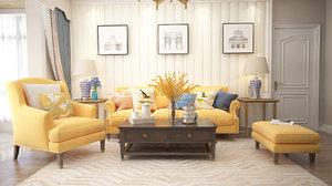 3D living room avangarde model
