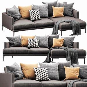 bonaldo paraiso chaise lounge 3D
