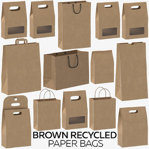 brown recycled paper bags 3D