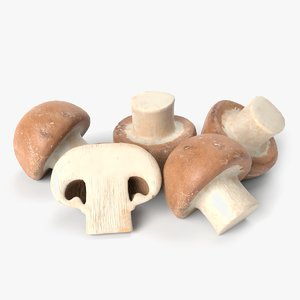 button mushrooms 3D model