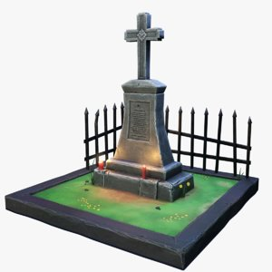 stylized gravestone pedestal cross 3D model