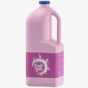 3D strawberry milk jerrycan model