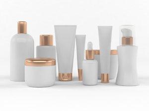 white plastic bottles 3D model