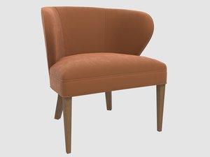 comfy sculptural scandinavian armchair 3D
