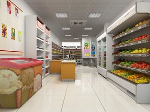 3D grocery shop goods scene model