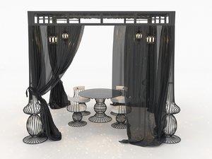 patio set curtains hanging 3D model