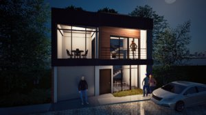 3D small contemporary house model