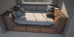 3D model bed corner