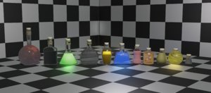 3D flasks potions model