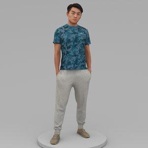 strong man hands pockets 3D