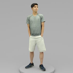 3D young man hands pockets