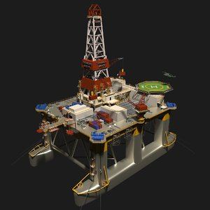 3D semi transocean legend oil rig