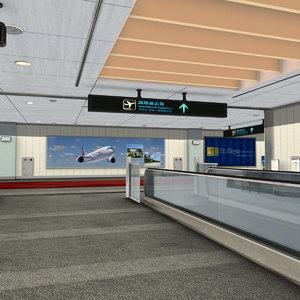 3D model airport departures lounge