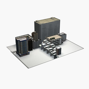 complex building residential commercial 3D model