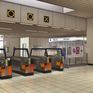 3D japanese subway station interior model