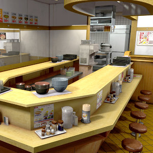 japanese rice bowl restaurant model