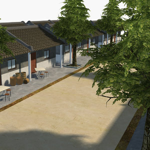 scene asian suburban residential 3D