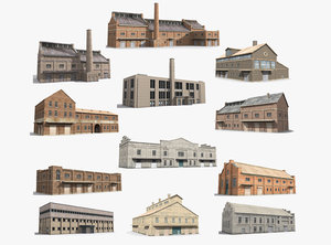 ready warehouse factory 3D model