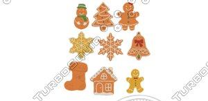 3D gingerbread cookie set