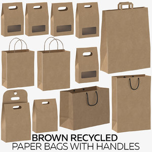 brown recycled paper bags 3D model