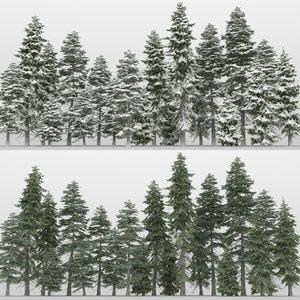 3d model 20 picea engelmanni trees