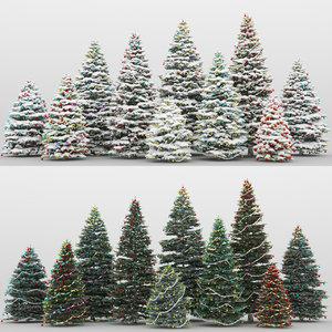 10 christmas trees 3d model