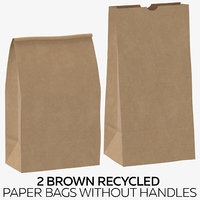 2 Brown Recycled Paper Bags without Handles