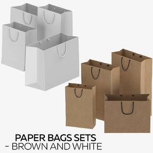 3D paper bags sets - model