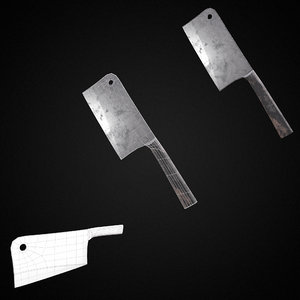 3D model grungy chef s knife