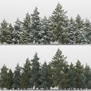 3D 20 picea glauca trees