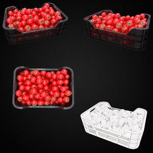 Fresh red tomato plastic crate PBR 3d model