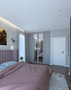 3D bedroom bed bathroom